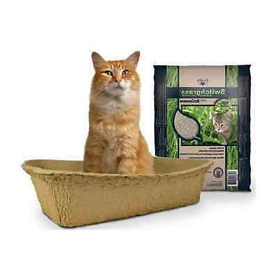 3 disposable litter boxes and 10lbs switchgrass