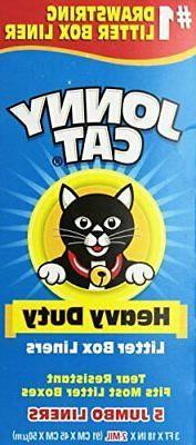 Jonny Cat, Cats Litter Box Liners With Drawstring, Jumbo, 5
