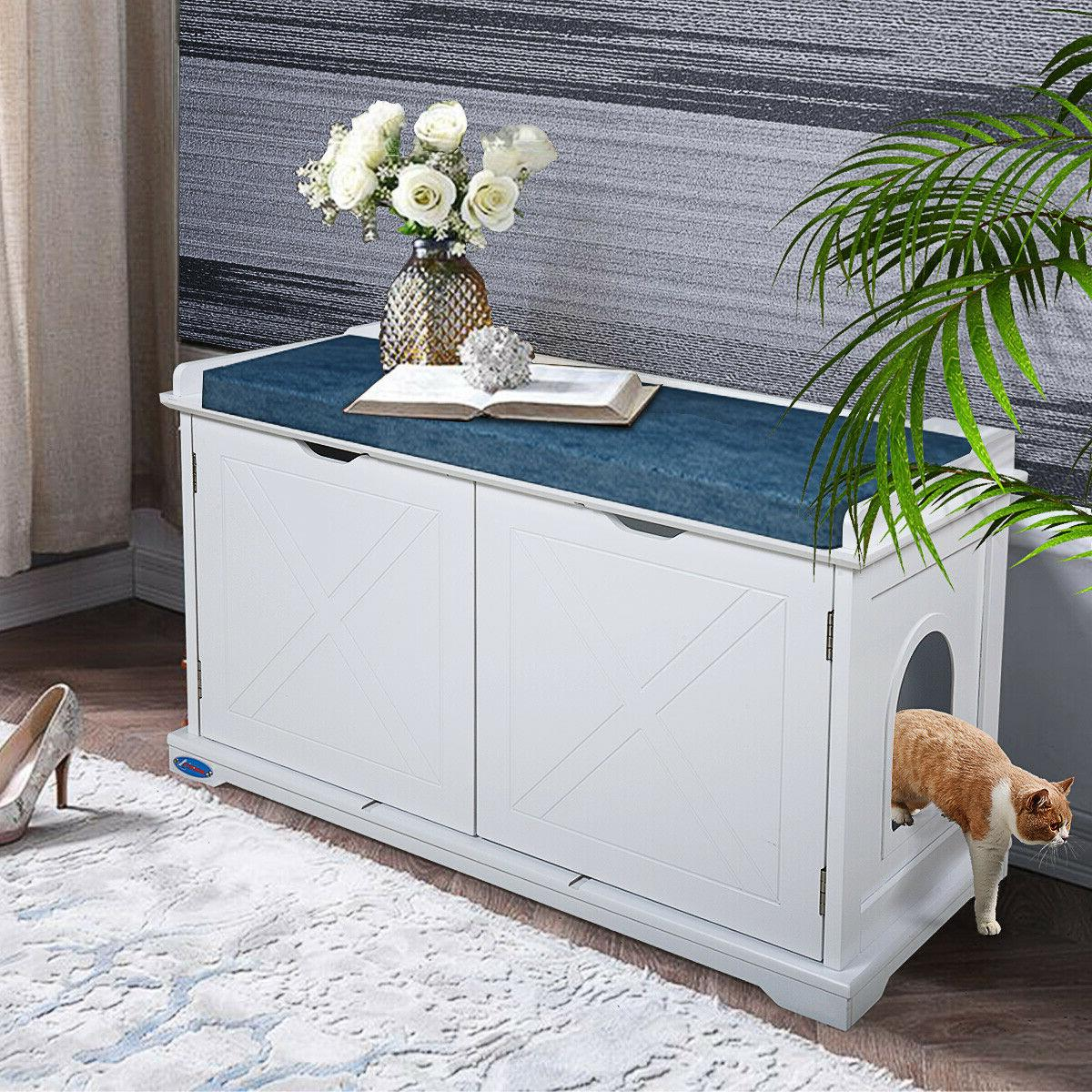 cat house litter box wood storage bench