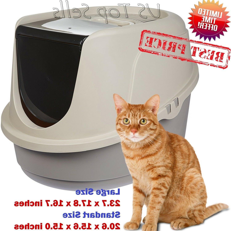 cat litter box enclosed pan hooded jumbo