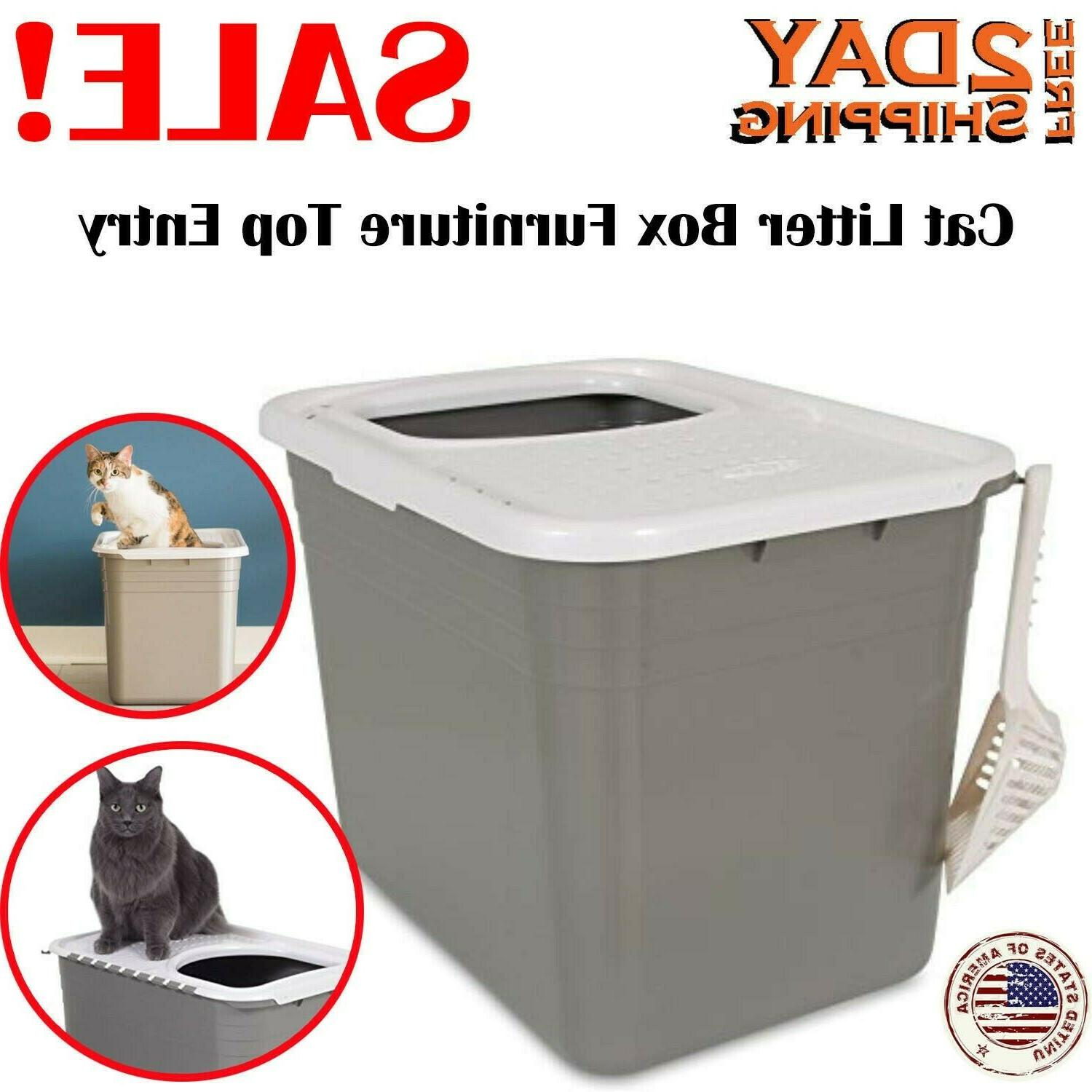 cat litter box furniture top entry large