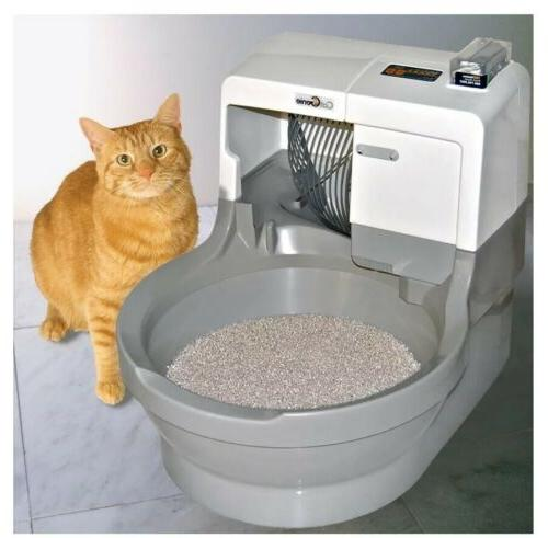 cat litter box self washing flushing genie