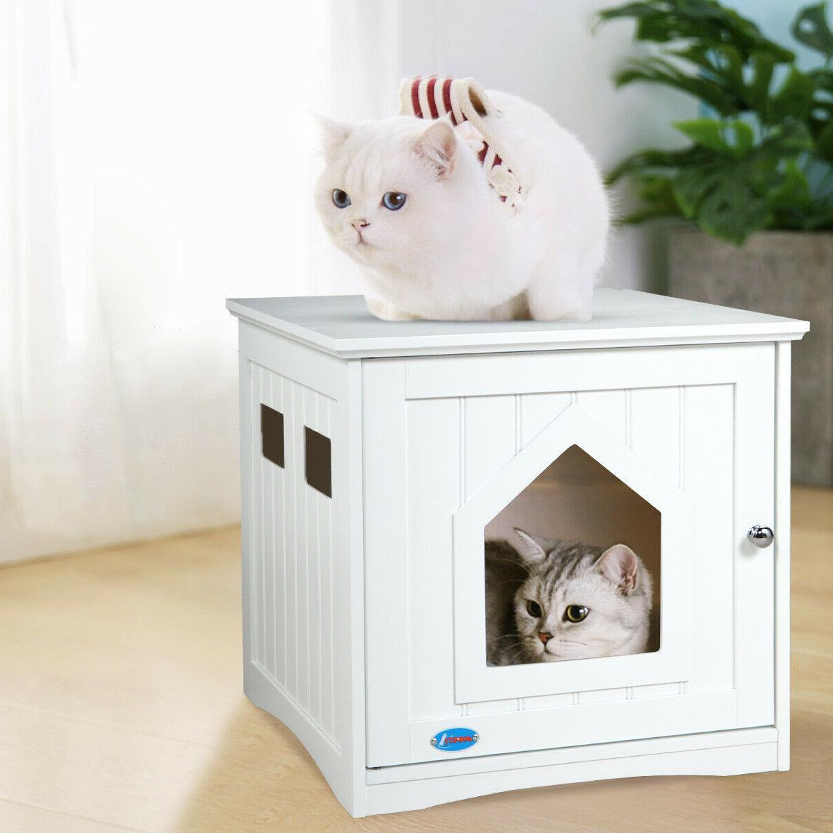 Cat Litter Box Wooden Cabinet Enclosure Hidden Toilet House
