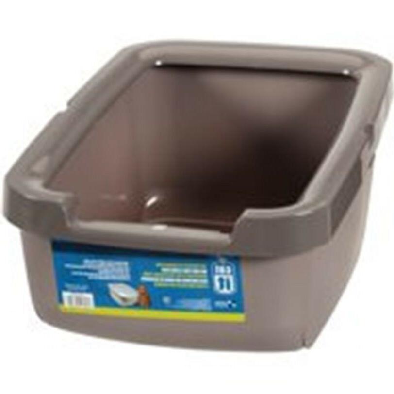 cat litter pan with rim tan pet