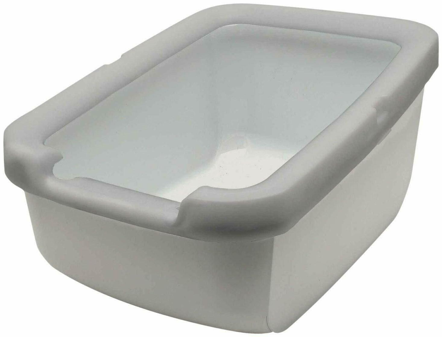 cat litter pan with rim taupe