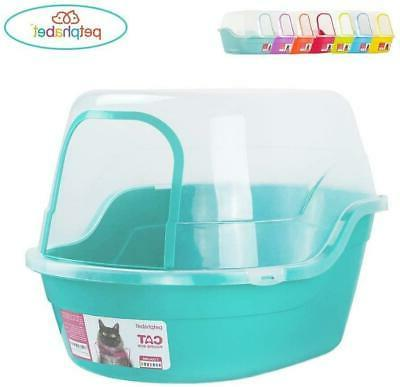 Covered Litter Box Cat Litter Box Teal Holds Up To Two Small