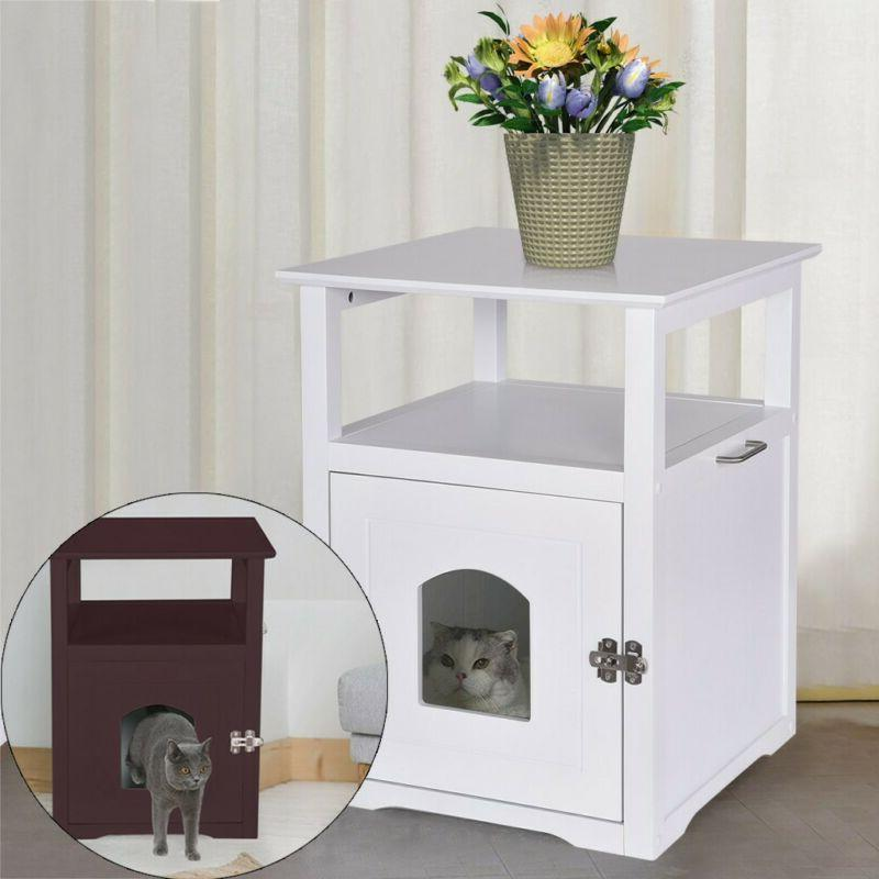 DESIGNER Pet LITTER BOX Toilet COVER Night STAND Table Cat H