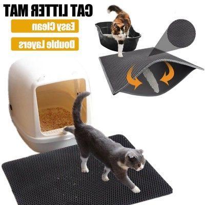 double layer cat litter box mat trapper