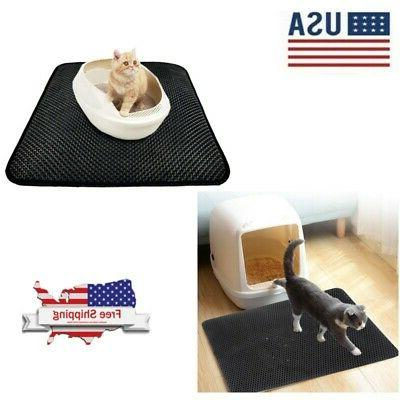 double layer pet cat litter box mat