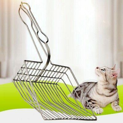 Pet Cat Litter Poop Scoop Kitty Box Stainless Steel Metal Cl