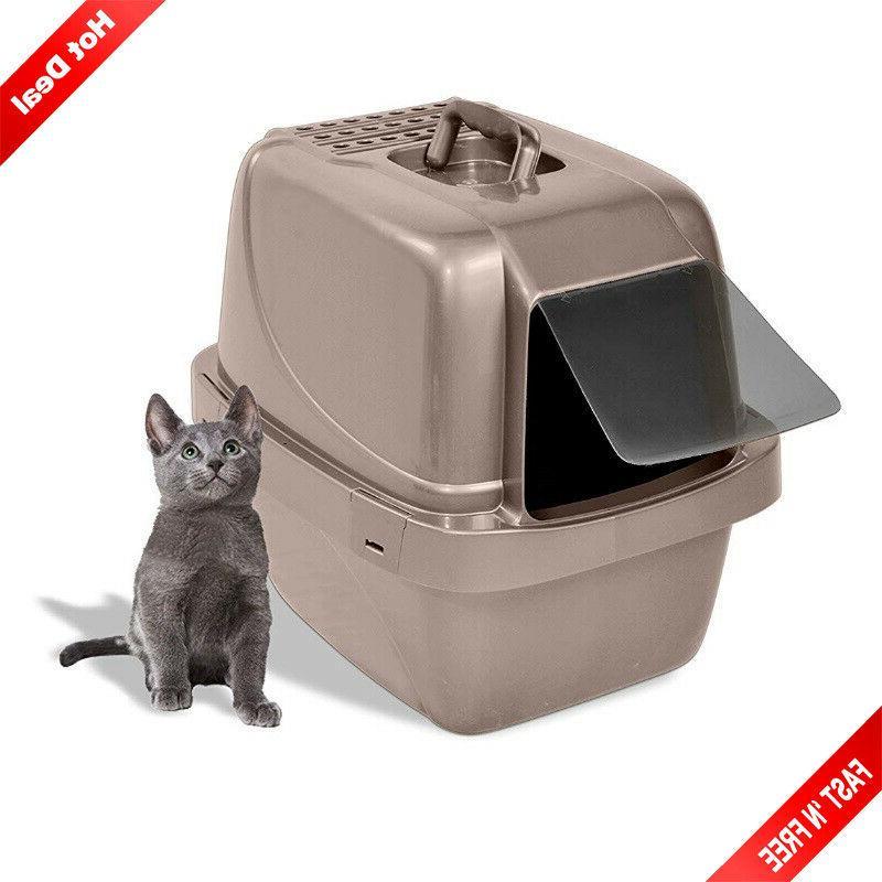 hooded cat litter box pet covered toilet
