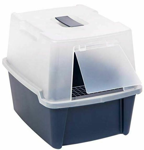 Hooded Cat Box with Scoop Covered Kitten Enclosed Top