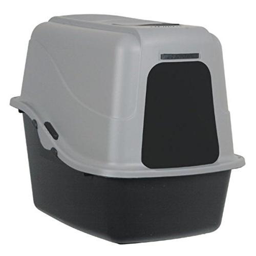 hooded litter pan set gray