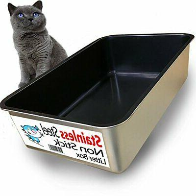 iPrimio Cat Litter Box Non-Stick Plated Stainless Steel XL L