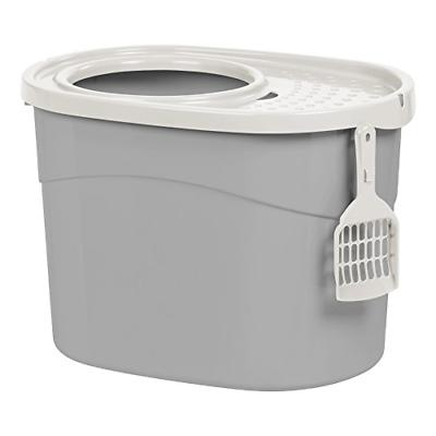IRIS Top Entry Cat Litter Box with Scoop, Gray and White