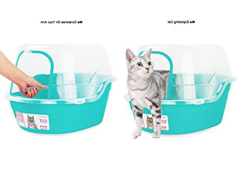 Petphabet Hooded Cat Litter Box, Teal