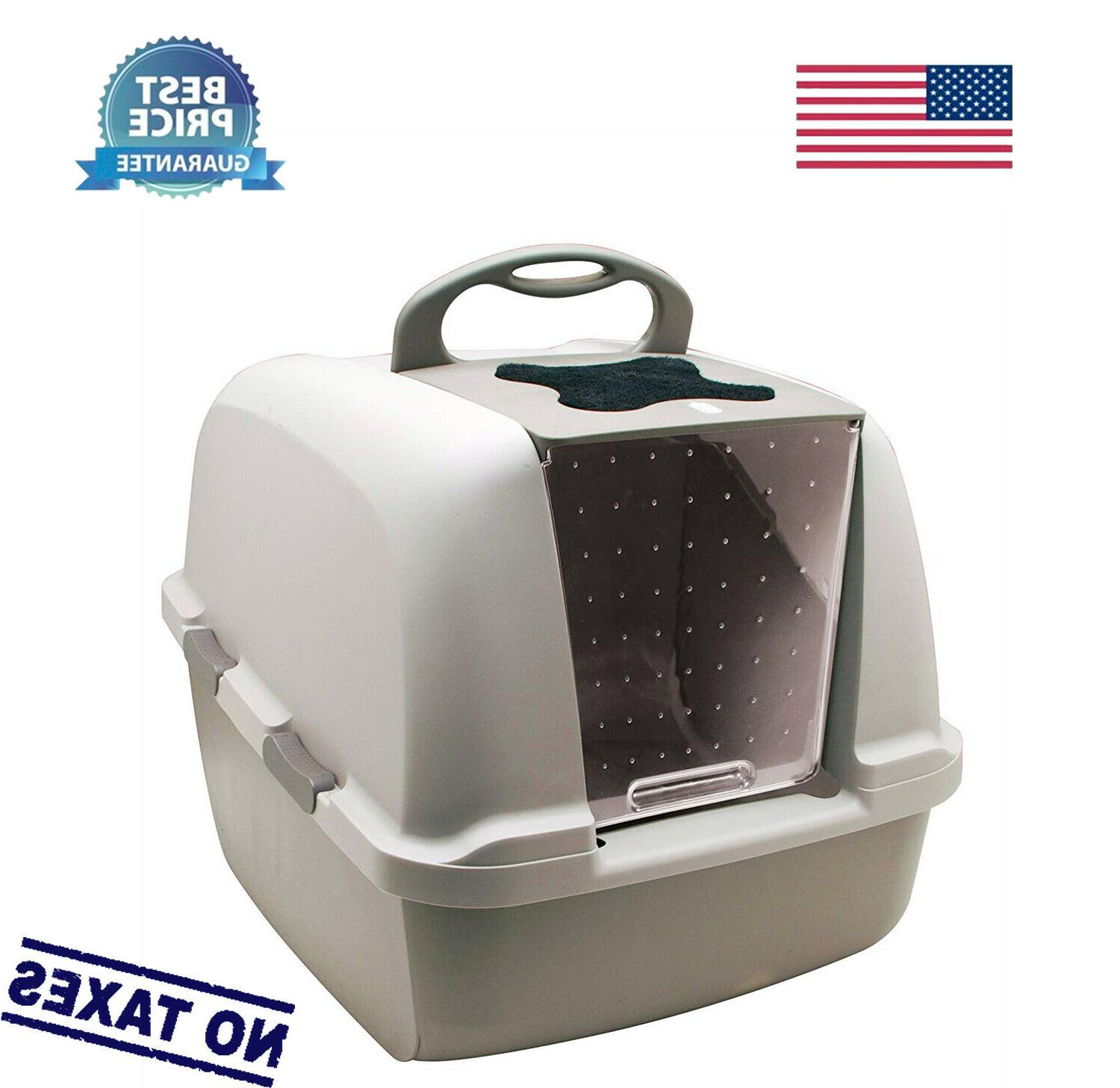jumbo hooded cat litter pan gray