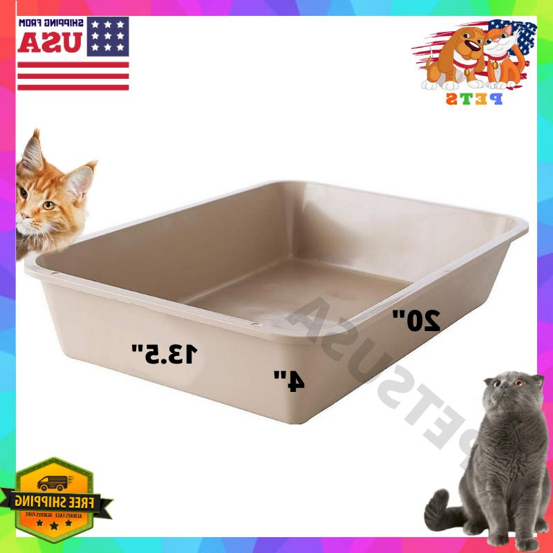 Large Cat Litter Box Furniture Open Top Entry Liter Tray Caj