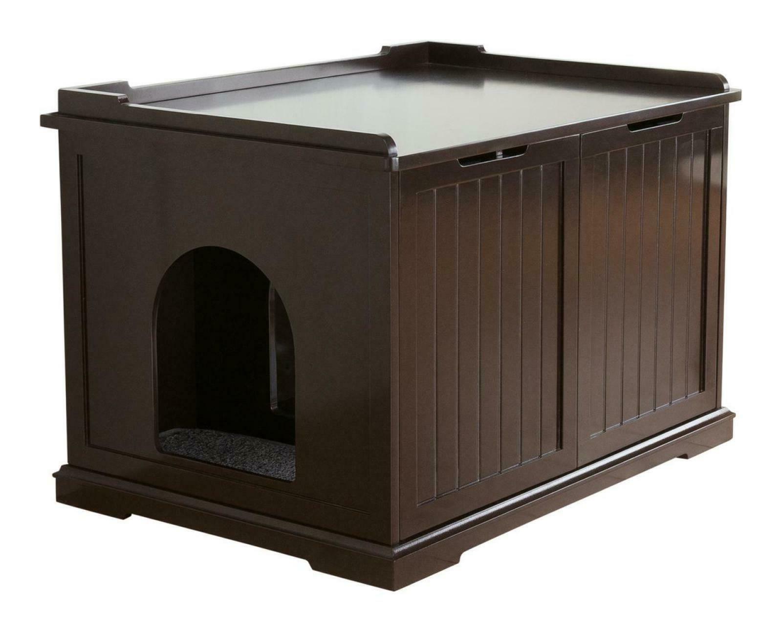Litter Box Enclosure Furniture Indoor Cat Kitty Pet Home Woo