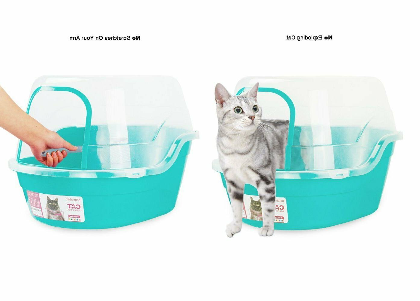 Litter box jumbo hooded clear lid extra large durable light