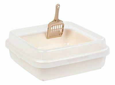 new iris square rimmed cat litter pan