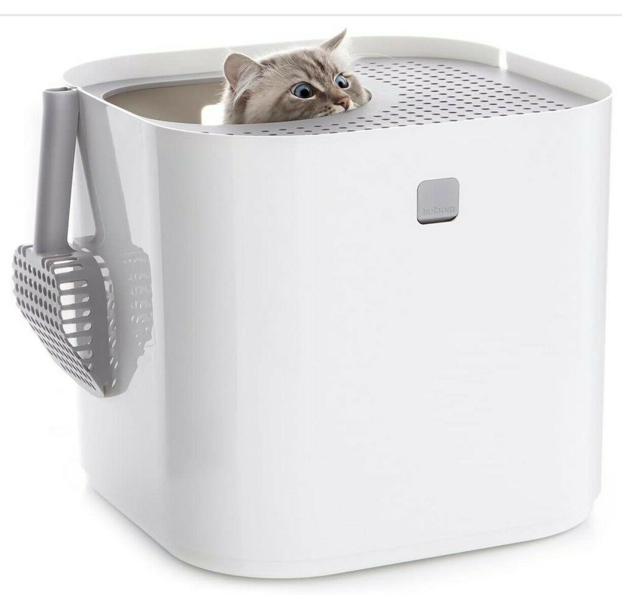 new unopened white litter box includes scoop