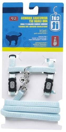 Catit Nylon Adjustable Cat Harness and Leash Set, Small, Blu
