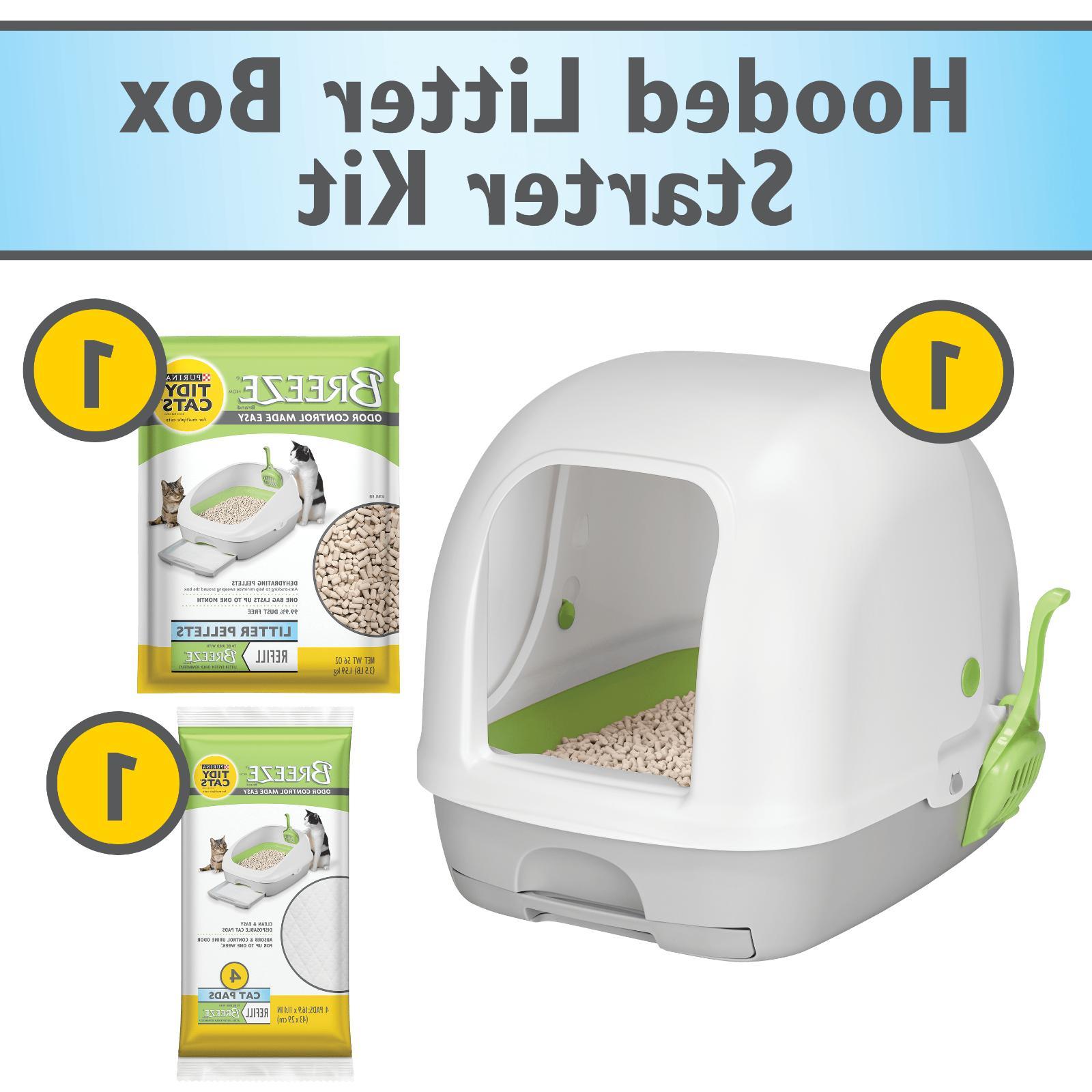 Covered Hooded Cat Liter Box Kit Pellets Pads Starter Set Ki