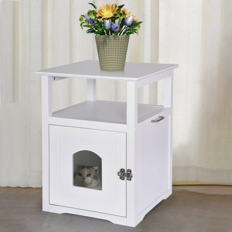Pet Cat Hidden Litter Box Furniture Bench Enclosure Kitty Sh