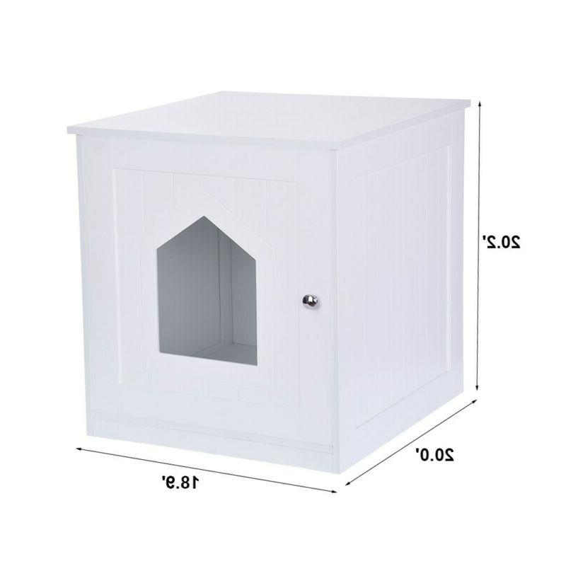 Pet Cat Box House Nightstand End w/Storage Shelf White