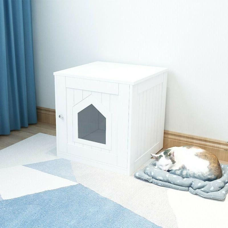 pet cat hidden litter box house nightstand