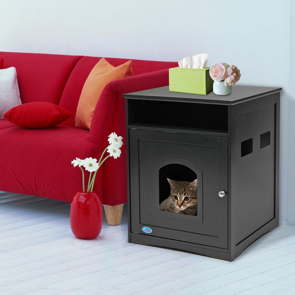 Pet Cat House Litter Washroom Box Enclosure Hidden Indoor Fu