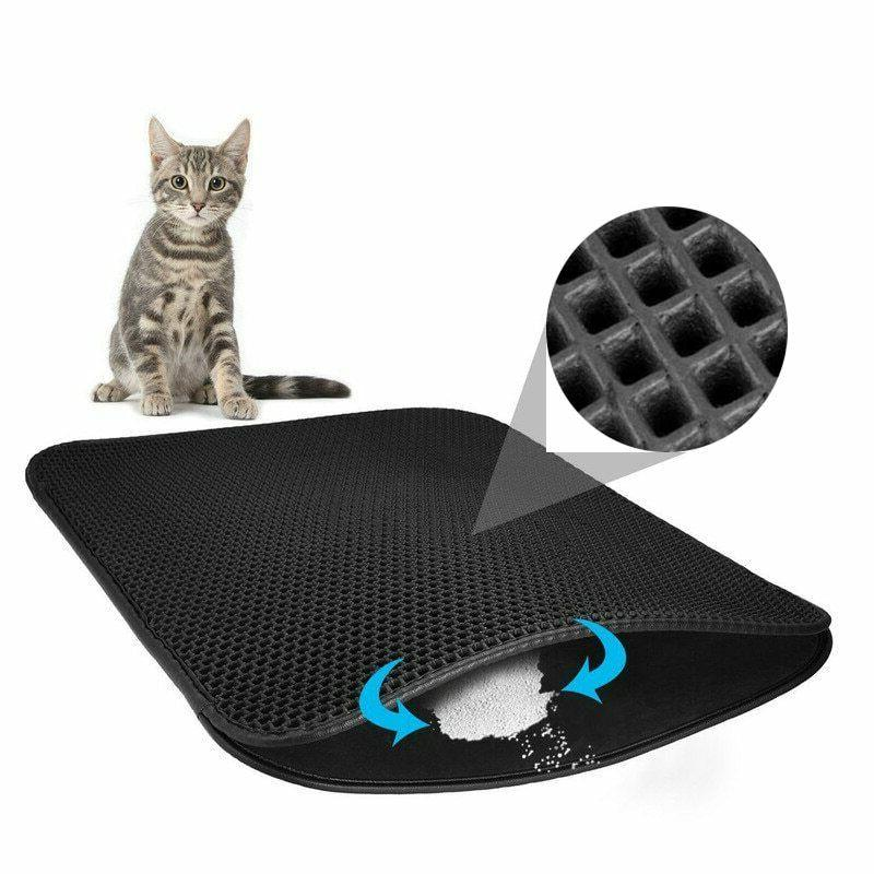 pet cat waterproof liter trapping mat double