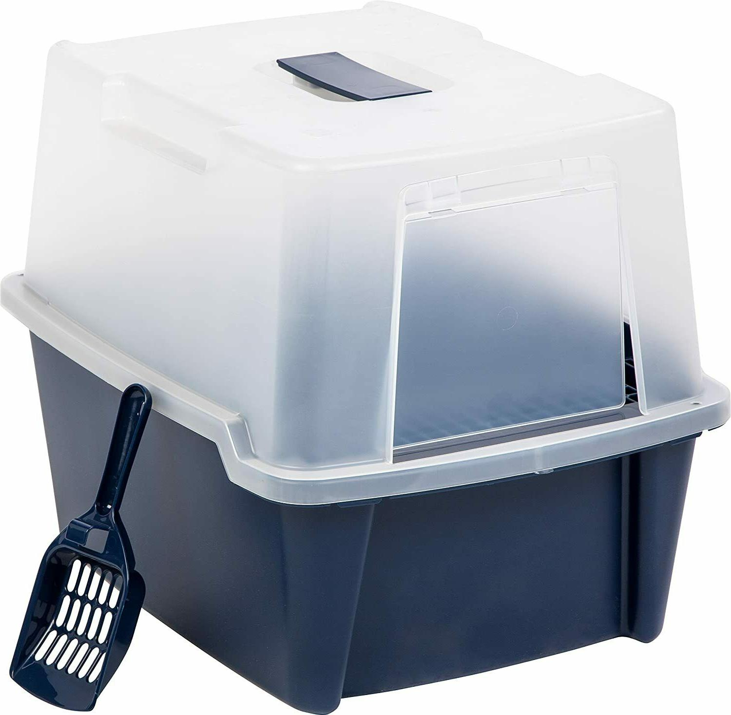 Cats Litter Box Large Hooded Litter Box with Scoop and Grate