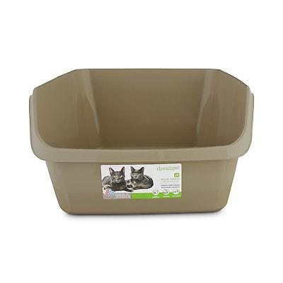 tan scatter shield high back litter box