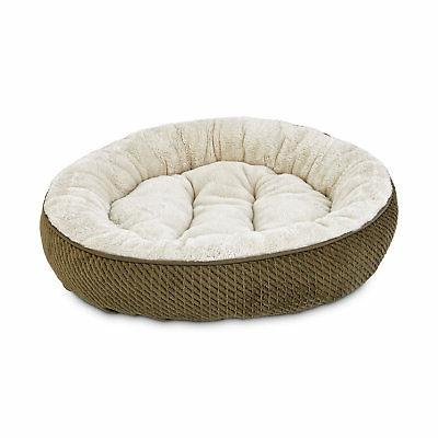 textured round cat bed in olive 20
