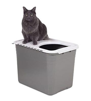 Petmate Top Pan Litter Box Brushed Nickel/Pearl