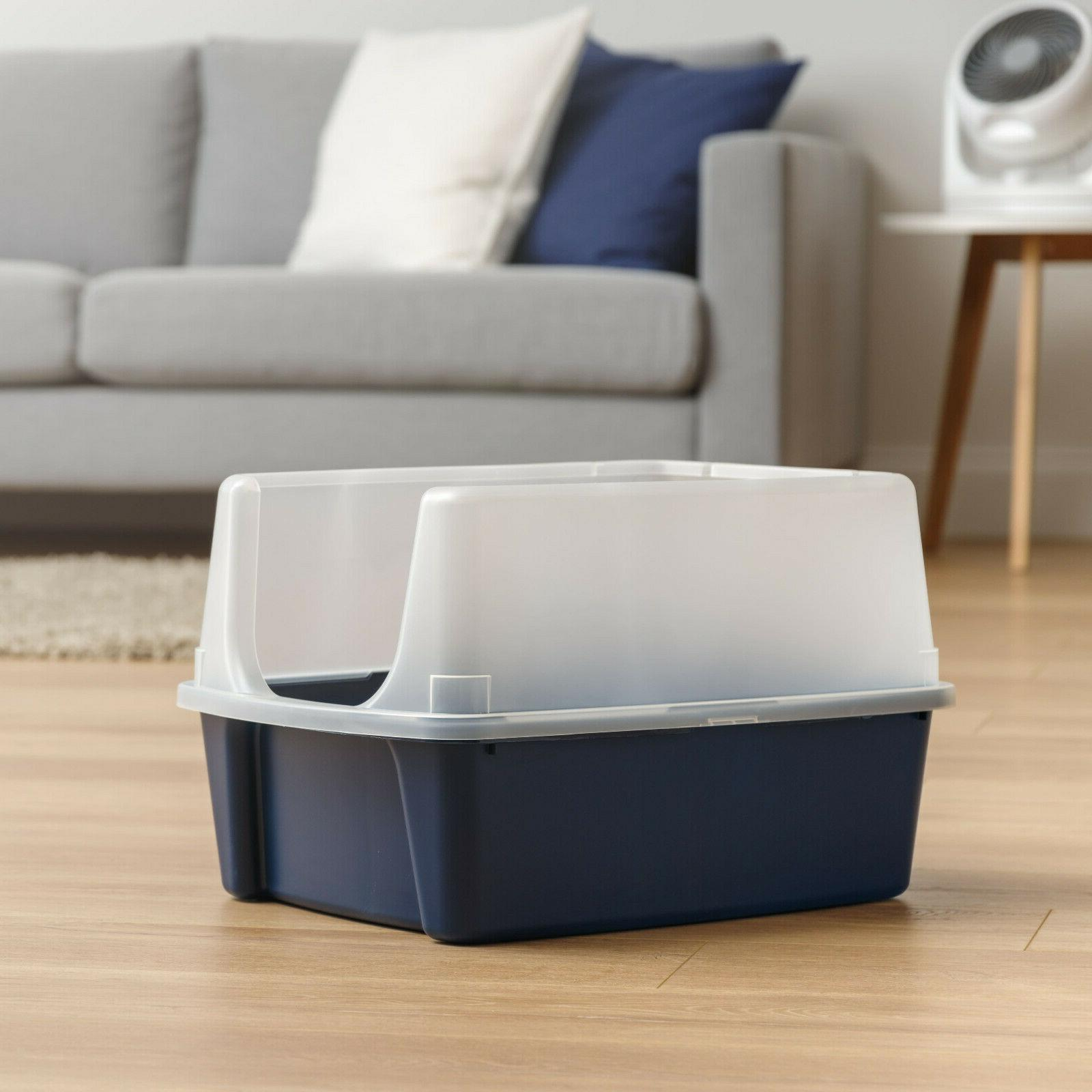 IRIS Litter Box With Shield, Regular, Navy
