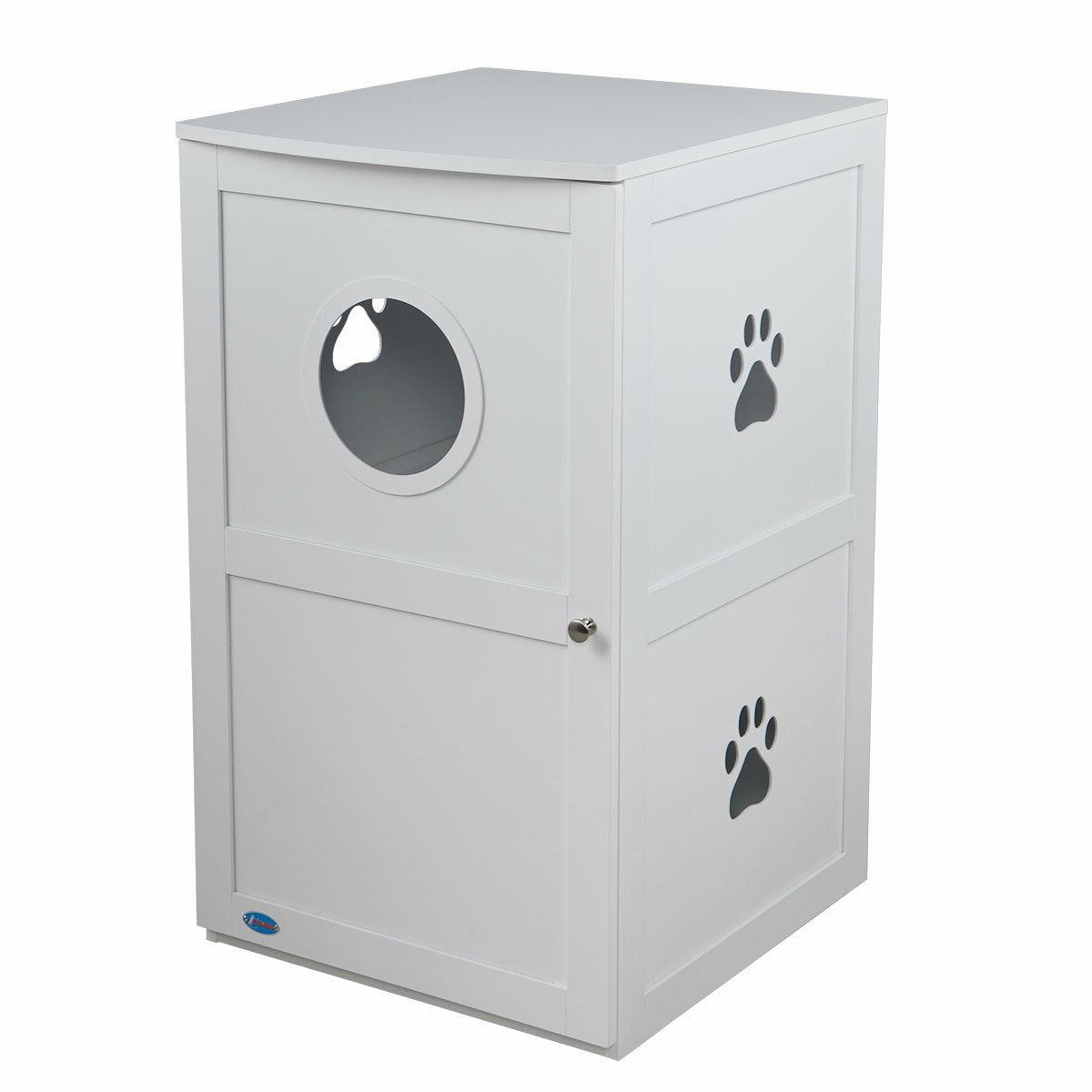 White 2-Tier Cat box Pets Nightstand Enclosure
