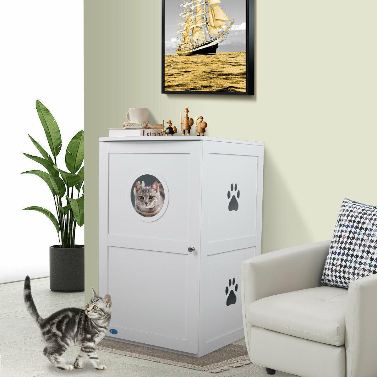 white 2 tier cat litter box house