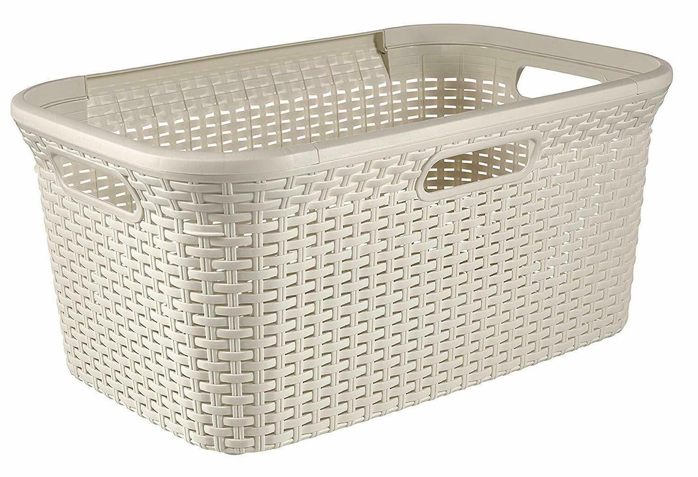 white style rectangle laundry basket plastic white