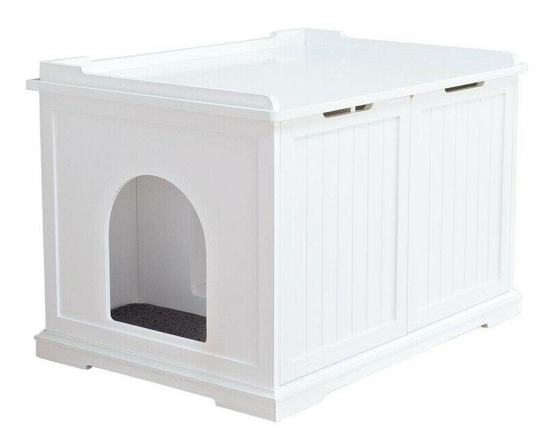 Wooden Pet House X-Large and Litter Box, White