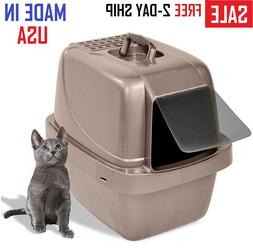 large cat litter box hooded toilet covered