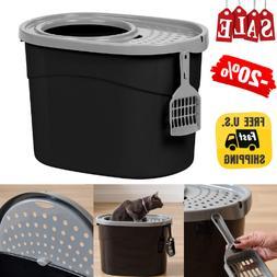 Large Cat Litter Box Open Top Hooded Jumbo Giant Covered Kit