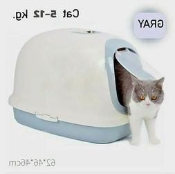 Large Deep Cat Litter Boxes Tray Grey White XXL Luxury Dome