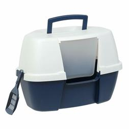 Cat Litter Box Lid Flap Large Hooded Corner Pan Entry Door w