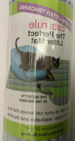 Cats rule  Litter Mat large 25x40 size non skid bottom.washa