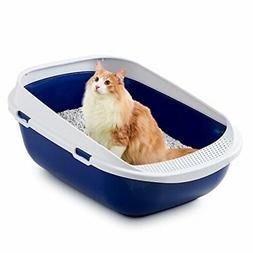 Mega Tray Blueberry Cat Toilet Litte Box Navy Blue White Eas