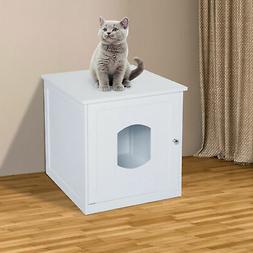 Pawhut Multi-Use Cat Litter Box Enclosure Pet House Table Ho