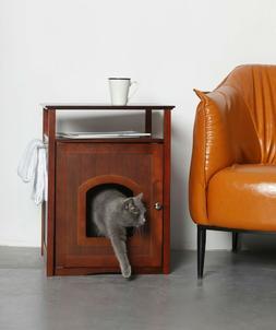 New Cat Litter Brown Box Cover & Handy Night Stand Walnut 25